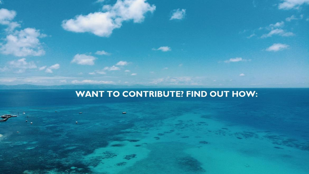 blue sea with call for contributors